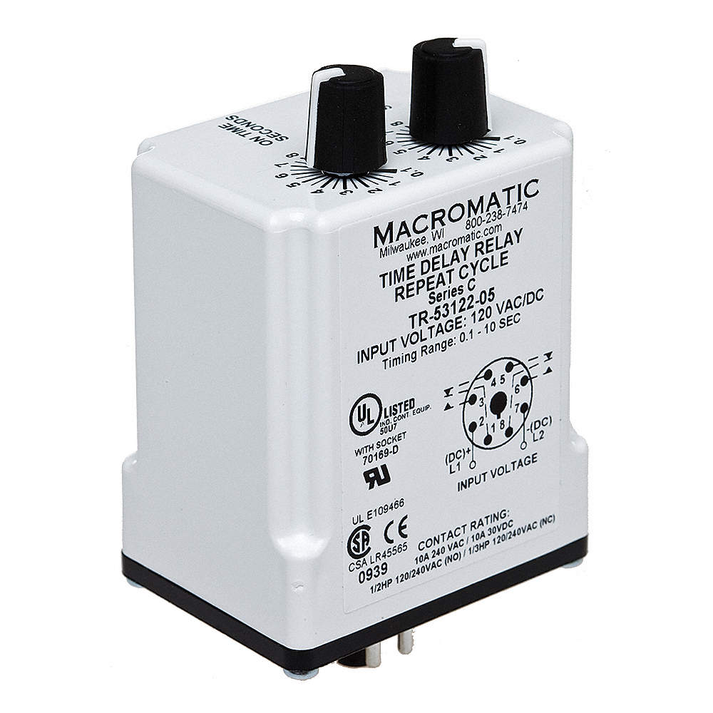 Single Function Timing Relay, 120VAC/DC, 10A @ 240V, 8 Pins, DPDT on