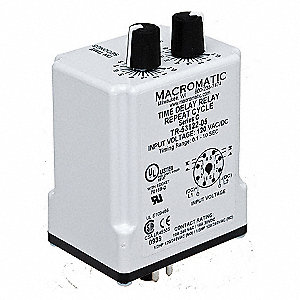 Single Function Timing Relay, 240VAC, 10A @ 240V, 8 Pins, DPDT