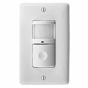 Hubbell Wiring Device Kellems Wall Switch Box Hard Wired Motion Sensor With Nightlight 1200 Sq Ft Passive Infrared White 29rx25 Ws2000nw Grainger