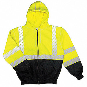 "Lime Flame-Resistant Hooded Sweatshirt, Size: L, Fits Chest Size: 44"" to 46"", 11.3 cal./cm2 ATPV Rat"
