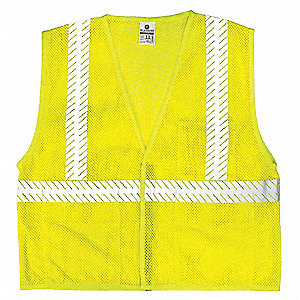 Yellow/Green with Silver Stripe Arc Flash Vest, ANSI 2, Hook-and-Loop Closure, L