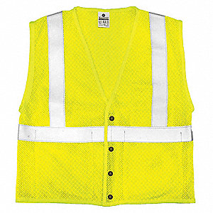 Yellow/Green with Silver Stripe Arc Flash Vest, ANSI 2, Zipper Closure, XL