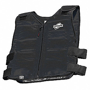 Cooling Vest, 2 to 3 hr. Cooling Time, Black, L/XL