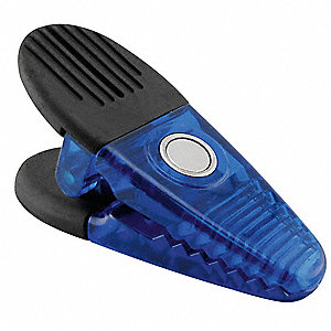 "Blue Magnetic Plastic Clips, 1-1/4"" Width, 1-5/8"" Height, 2 PK"