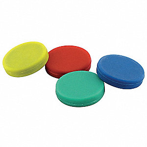 "Red, Blue, Green, Yellow Disc Magnets, 1-1/4"" Width, 1/4"" Height, 4 PK"