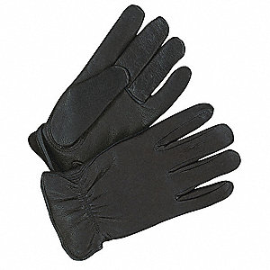 Deerskin Leather Gloves with Rolled Cuff, Black, L