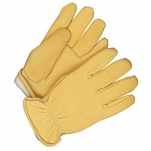 Leather Gloves,Deerskin,L,Tan,PR