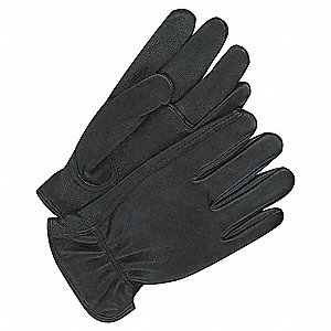 Deerskin Leather Gloves with Rolled Cuff, Black, M