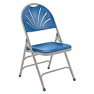 Gray Steel Folding Chair with Blue Seat Color, 4PK
