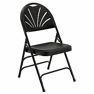 Black Steel Folding Chair with Black Seat Color, 4PK