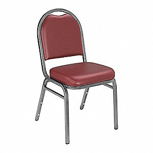 Silvervein Steel Stacking Chair with Burgundy Seat Color, 1EA