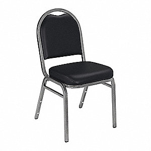 Silvervein Steel Stacking Chair with Black Seat Color, 1EA