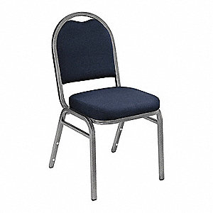 Silvervein Steel Stacking Chair with Blue Seat Color, 1EA