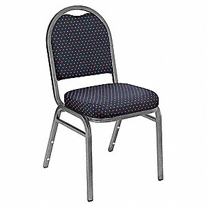 Silvervein Steel Stacking Chair with Diamond Navy Seat Color, 1EA