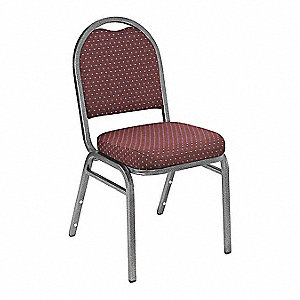 Silvervein Steel Stacking Chair with Diamond Burgundy Seat Color, 1EA