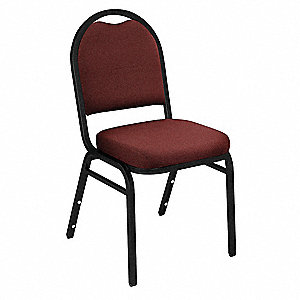 Black Steel Stacking Chair with Burgundy Seat Color, 1EA