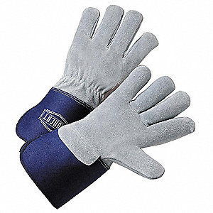"Cowhide, 2-1/2"" Rubberized Safety Cuff, Gray/Blue, Left/Right Hand"