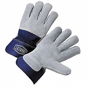 "Cowhide Leather Palm Gloves with 2-1/2"" Rubberized Safety Cuff, Gray/Blue, XL"