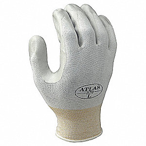 13 Gauge Coated Gloves, Glove Size: M, Gray/White