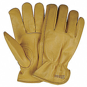 Cowhide Leather Driver's Gloves with Shirred Cuff, Tan, XL