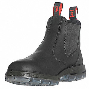 "6""H Unisex Work Boots, Steel Toe Type, Full Grain Leather Upper Material, Black, Size 11EE"