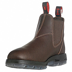 "6""H Unisex Work Boots, Steel Toe Type, Full Grain Leather Upper Material, Dark Brown, Size 14EE"