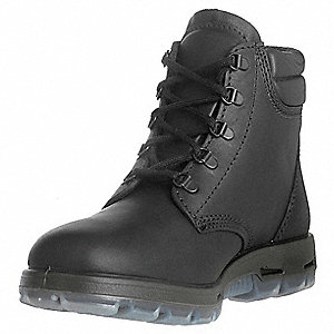 "6""H Unisex Work Boots, Steel Toe Type, Full Grain Leather Upper Material, Black, Size 4EE"