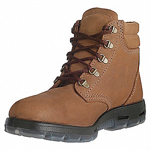 "6""H Unisex Work Boots, Steel Toe Type, Full Grain Leather Upper Material, Light Brown, Size 7-1/2EE"