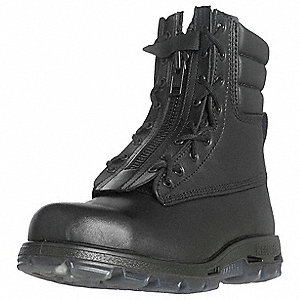"9""H Unisex Work Boots, Steel Toe Type, Full Grain Leather Upper Material, Black, Size 10EE"