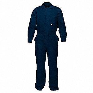 FR Cotton Blend  (88% Cotton, 12% Nylon), Flame-Resistant Coverall, Size: 2XL, Color Family: Blues