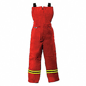 "Red Bib Overalls, 88% Cotton, 12% Nylon, Fits Waist Size: 32"" to 34"", 32-1/4"" Inseam, 40.8 cal/cm2 A"