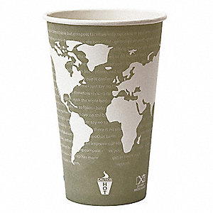 16 oz. Paper Disposable Hot Cup, Seafoam Green, 1000 PK