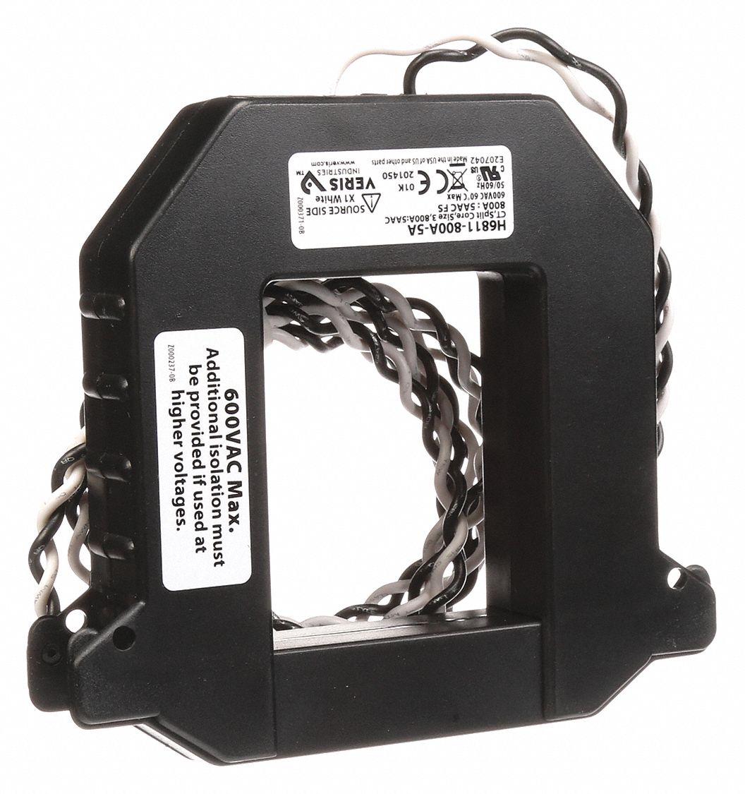 Split Core Current Transformer, Primary Range: 0 to 800A, Secondary Range: 0 to 5A