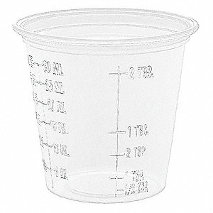1-1/4 oz. Disposable Cold Cup, Plastic, Clear, PK 2500