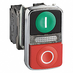 Illum Push Button,22mm,1NO/1NC,Green/Red