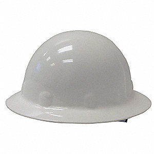 Full Brim Hard Hat, 8 pt. Pinlock Suspension, White, Hat Size: 6-1/2 to 8
