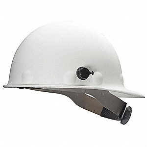 Front Brim Hard Hat, 8 pt. Ratchet Suspension, White, Hat Size: 6-5/8 to 7-3/4