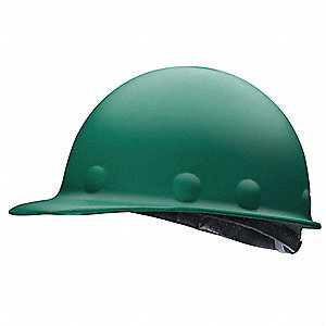 Front Brim Hard Hat, 8 pt. Ratchet Suspension, Green, Hat Size: One Size Fits Most