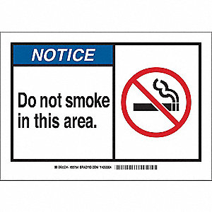 "No Smoking, Notice, Plastic, 10"" x 14"", With Mounting Holes, Not Retroreflective"