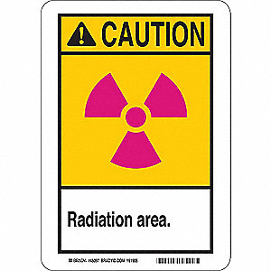 Caution Radiation Sign,10x7,Self-Adhes.