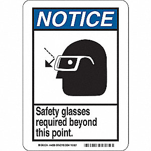 "Personal Protection, Notice, Fiberglass, 10"" x 7"", With Mounting Holes, Not Retroreflective"