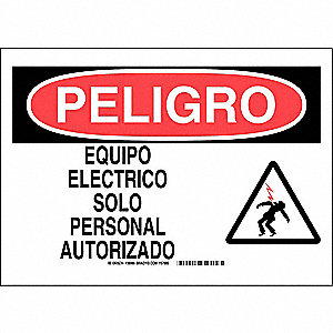 "Electrical Hazard, Peligro, Plastic, 10"" x 14"", With Mounting Holes, Not Retroreflective"