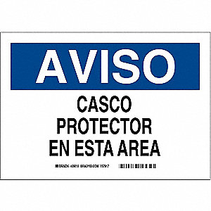 "Personal Protection, Aviso, Plastic, 7"" x 10"", With Mounting Holes, Not Retroreflective"