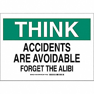 "Safety Incentive and Motivational, Think, Plastic, 10"" x 14"", With Mounting Holes"