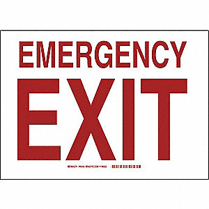 "Exit Sign,Emergency Exit,10""x14"""