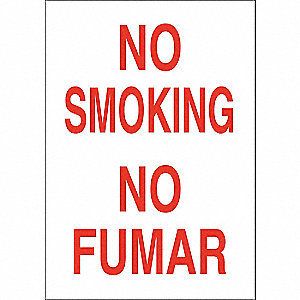 No Smoking Sign,Bilingual,10x14