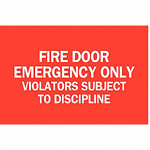 "Sign, Fire Door Emergency, 7""x10"""