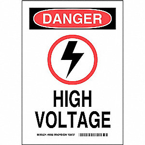 "Electrical Hazard, Danger, Aluminum, 10"" x 7"", With Mounting Holes, Not Retroreflective"