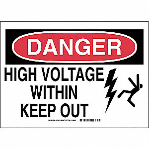 "Electrical Hazard, Danger, Polyester, 7"" x 10"", Adhesive Surface, Not Retroreflective"