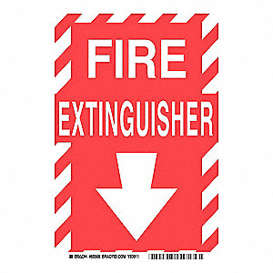 "Fire Equipment, No Header, Polyester, 10"" x 7"", Adhesive Surface, Not Retroreflective"